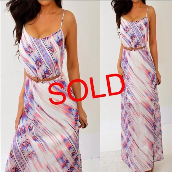 HeartSoul Dresses & Skirts - Pink Blue Chiffon Long Maxi Dress S Small